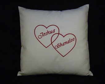 Two Hearts Personalized Valentine Pillow