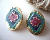 Vintage Native Earrings : Oval Dance vinatge enamel gold tone earrings