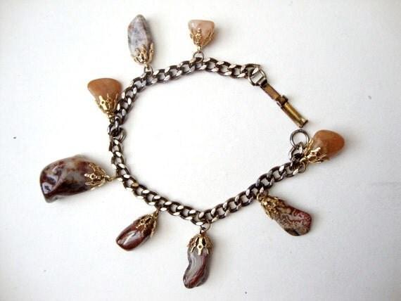Agate Dangle vintage stone / rock dangle bracelet