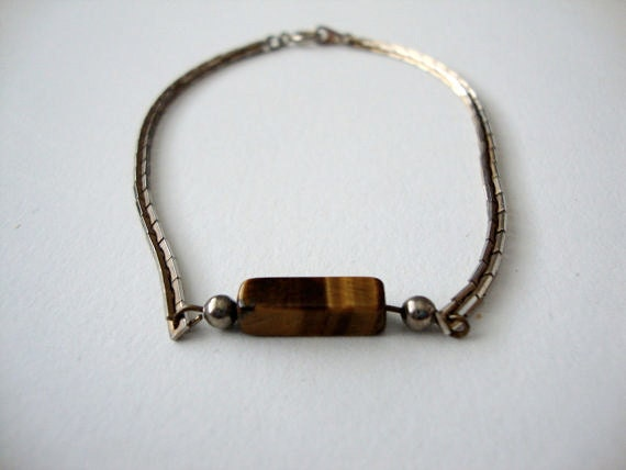 Golden Rectangle vintage gold tone bracelet with tigers eye stone
