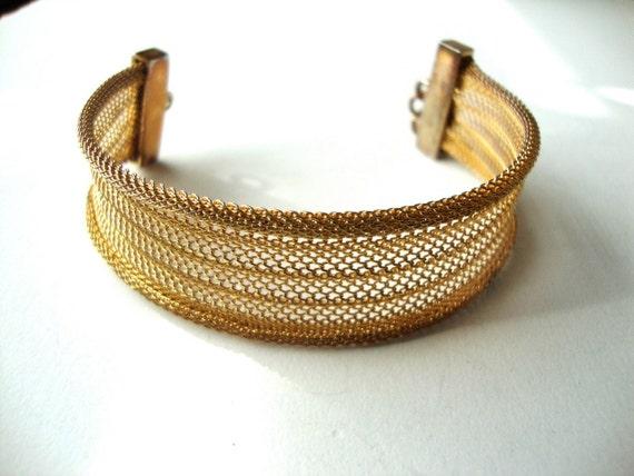 Vintage Mesh Bracelet : Golden Lace vintage gold tone mesh cuff bracelet