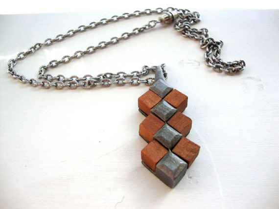 Vintage Geometric Necklace : Wooden Cubes  vintage wooden pendant on a pewter chain