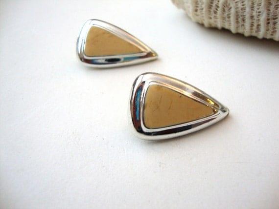 Sale 50% off Vintage Enamel Earrings: Butterscotch Drops vintage silver tone enamel tear drop earrings
