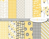 Yellow and Gray Digital Scrapbook Paper Pack --   Brewster Yellow&Gray  -- 12x12 and 8.5x11  -- INSTANT DOWNLOAD