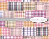 Digital Scrapbook Paper Pack - Madras Pink&Navy  -- INSTANT DOWNLOAD