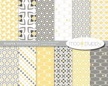 Yellow and Gray Digital Scrapbook Paper Pack --   Harper Yellow&Gray (Buy 2 Get 1 Free) Personal and Small Commercial Use