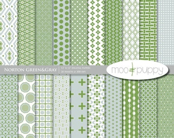 Norton Green&Gray Modern Digital Printable Paper Pack  -- INSTANT DOWNLOAD