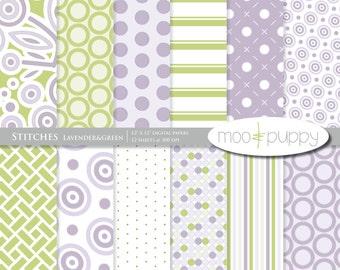 Stitches Lavender&Green - Modern Digital Scrapbook Paper Pack  -- INSTANT DOWNLOAD