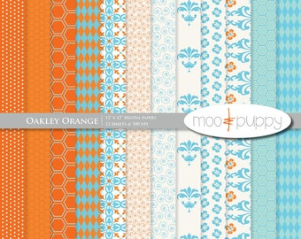 Oakley Orange Digital Scrapbook Paper Pack 12x12  -- INSTANT DOWNLOAD