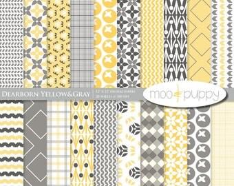 Digital Scrapbook Paper Pack -   Dearborn Yellow&Gray Modern Digital Scrapbook  -- INSTANT DOWNLOAD