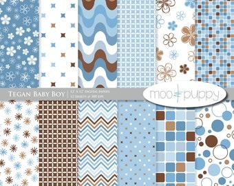 Tegan Baby Boy - Digital Scrapbook Paper Pack  -- INSTANT DOWNLOAD