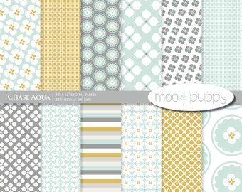 Chase Aqua - Digital Scrapbook Paper Pack  -- INSTANT DOWNLOAD