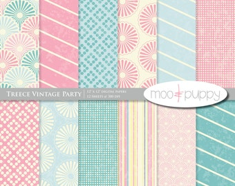 Digital Scrapbooking Paper     Treece Vintage Party - Digital Scrapbook Paper Pack  -- INSTANT DOWNLOAD