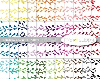 Digital Scrapbooking Paper Pack  --  Rainbow Branches White -- INSTANT DOWNLOAD