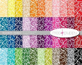 Mega SALE:   Digital Scrapbook Paper Pack  -- Rainbow Swirls -- INSTANT DOWNLOAD