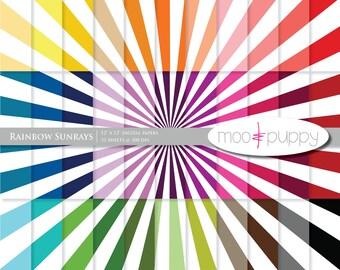 Mega SALE:   Sunrays Digital Scrapbook Paper Pack  --  Rainbow Sunrays -- INSTANT DOWNLOAD