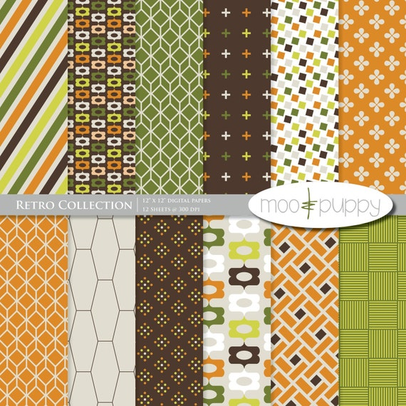 Scrapbooking Digital Download    Retro Digital Scrapbook Paper Kit  -- INSTANT DOWNLOAD