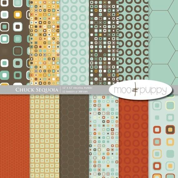 Digital Scrapbook Paper Pack  - Chuck Sequoia  -- INSTANT DOWNLOAD