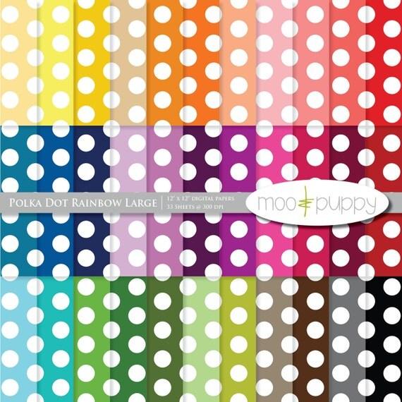 Polka Dot Digital Scrapbook Paper Pack  --  Polka Dot Rainbow Large -- INSTANT DOWNLOAD
