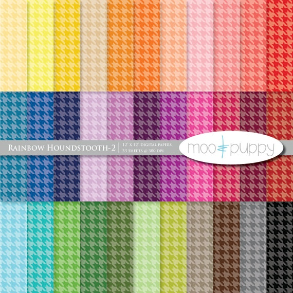 Digital Scrapbook Paper Pack  --  Rainbow Houndstooth-2 (tinted) -- INSTANT DOWNLOAD