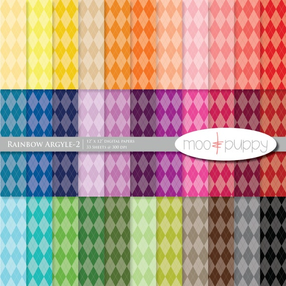 Argyle Digital Scrapbook Paper Pack  --  Rainbow Argyle-2 (tinted)
