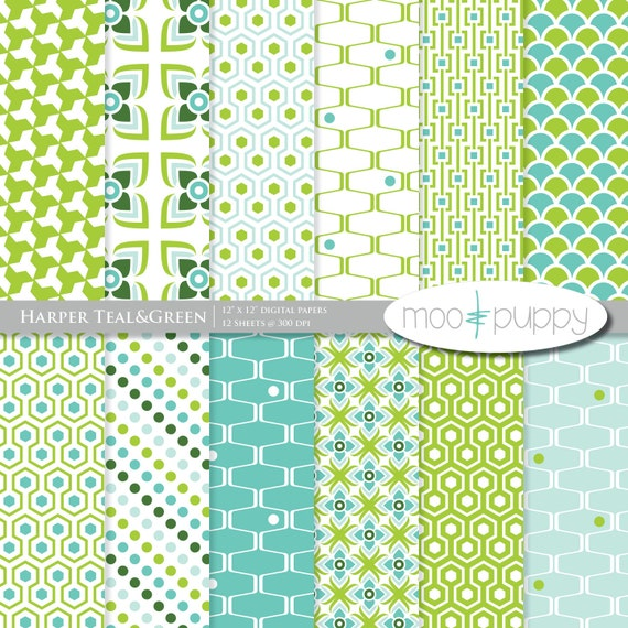 Harper Teal&Green - Digital Scrapbook Paper Pack  -- INSTANT DOWNLOAD