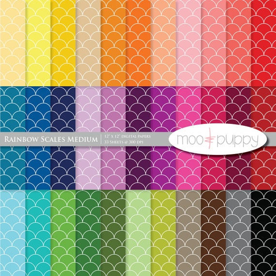 Mega SALE:   Digital Scrapbook Paper Pack  --  Rainbow Scales Medium -- INSTANT DOWNLOAD