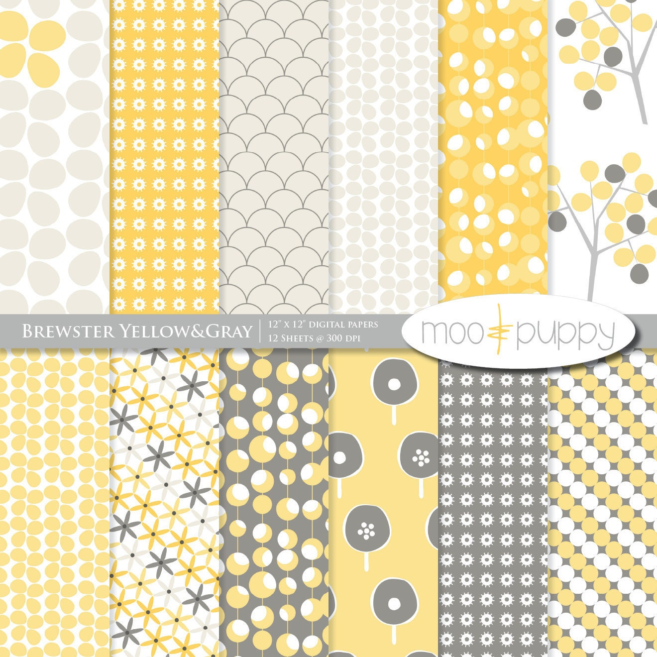 yellow and gray digital scrapbook paper pack brewster. Black Bedroom Furniture Sets. Home Design Ideas
