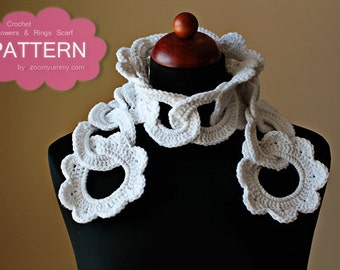 Crochet Pattern - Flowers And Rings Scarf (Pattern No. 037) - INSTANT DIGITAL DOWNLOAD