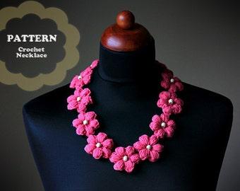 Crochet Pattern - Crochet Flower Necklace (Pattern No. 048) - INSTANT DIGITAL DOWNLOAD