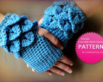 Crochet Pattern - Crochet Crocodile Stitch Fingerless Gloves (Pattern No. 042) - INSTANT DIGITAL DOWNLOAD