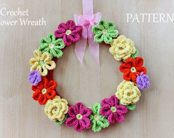 Crochet Pattern - Crochet Flower Wreath (Pattern No. 044) - INSTANT DIGITAL DOWNLOAD