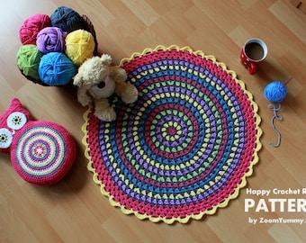 Crochet Pattern - Happy Crochet Rug (Pattern No. 030) - INSTANT DIGITAL DOWNLOAD