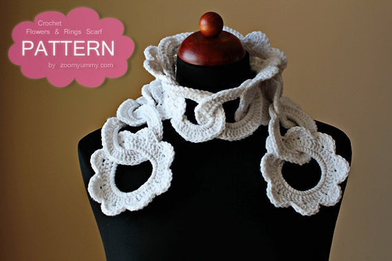 Crochet Pattern Flowers And Rings Scarf Pattern No. 037