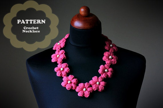 Crochet Pattern Crochet Flower Necklace
