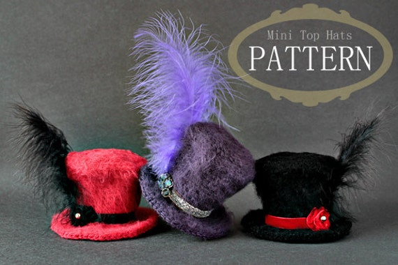Crochet Pattern - Crochet Mini Top Hats (Pattern No. 033) - INSTANT DIGITAL DOWNLOAD