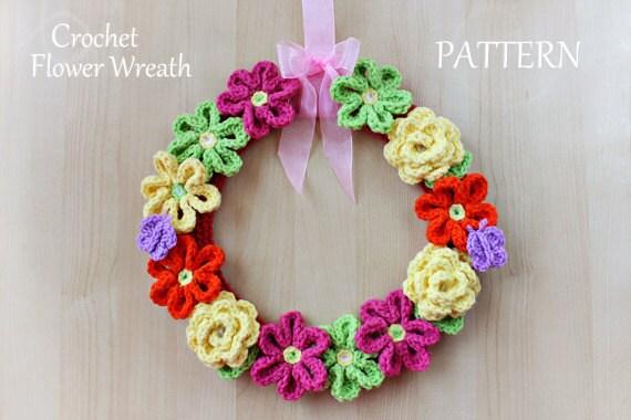 Crochet Pattern - Crochet Flower Wreath (Pattern No. 044) - INSTANT DIGITAL DOWNLOAD