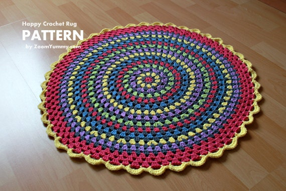Crochet Pattern Happy Crochet Rug Pattern No 030