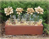 Milk Bottle Vases in a Crate Wedding Centerpiece (your color of choice)