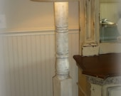 Grand Porch Column Distressed White Washed Floor Lamp