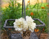 Flower Girl Basket Rustic Wedding Decor Chicken Wire Personalized Engraved Heart Centerpiece Woodland Barn Wedding