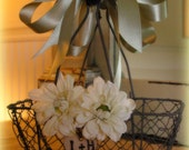 Chicken Wire Flower Girl  Basket Personalized Engraved Heart Rustic Wedding Decor Centerpiece Woodland Barn Wedding