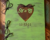 Guest Book 9 X 12 Distressed Real Tree Slice Wish Book Guest Book Rustic Wedding         You Pick the Color and Personalized Message
