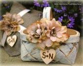 Flower Girl Basket Rustic Wedding Decor Your Choice of Color and Flower