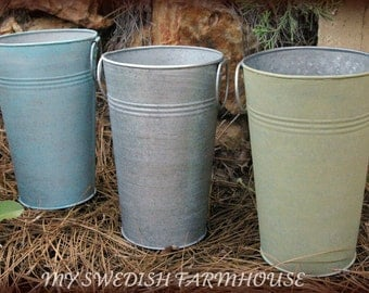 1 French Tall Galvanized Vase Pail Bucket YOUR CHOICE Of COLOR