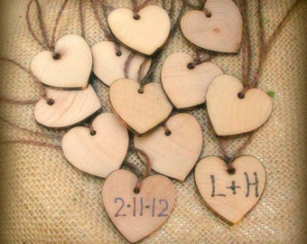 24 Wood Heart Charms with Twine Wine Glass Gift Favor Tag Personalized Custom