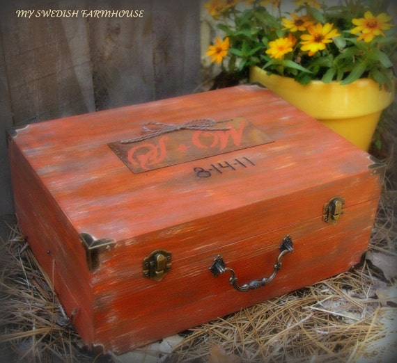 Wedding Card Box Wine or Love Letter Ceremony and Rustic Wedding Decor Personalized Distressed Custom (You Pick Color)