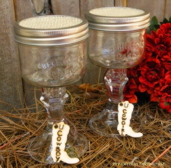Mason Jars Rustic Wedding Decorations: Items Similar To Mason Jar Wine Glasses Cowboy Cowgirl Or