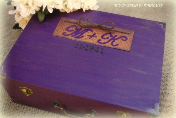Wedding Card Box Wine or Love Letter Ceremony Box Rustic Wedding Decor Personalized Distressed Custom (You Pick Color)