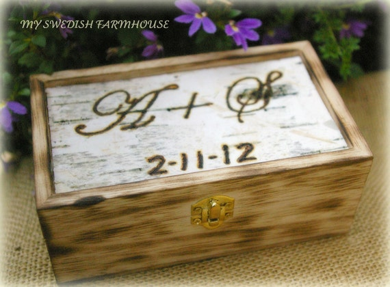 BIRCH BARK TOP Ring Bearer Box Rustic Winter Wedding Personalized with Initials and Date or Monogramed